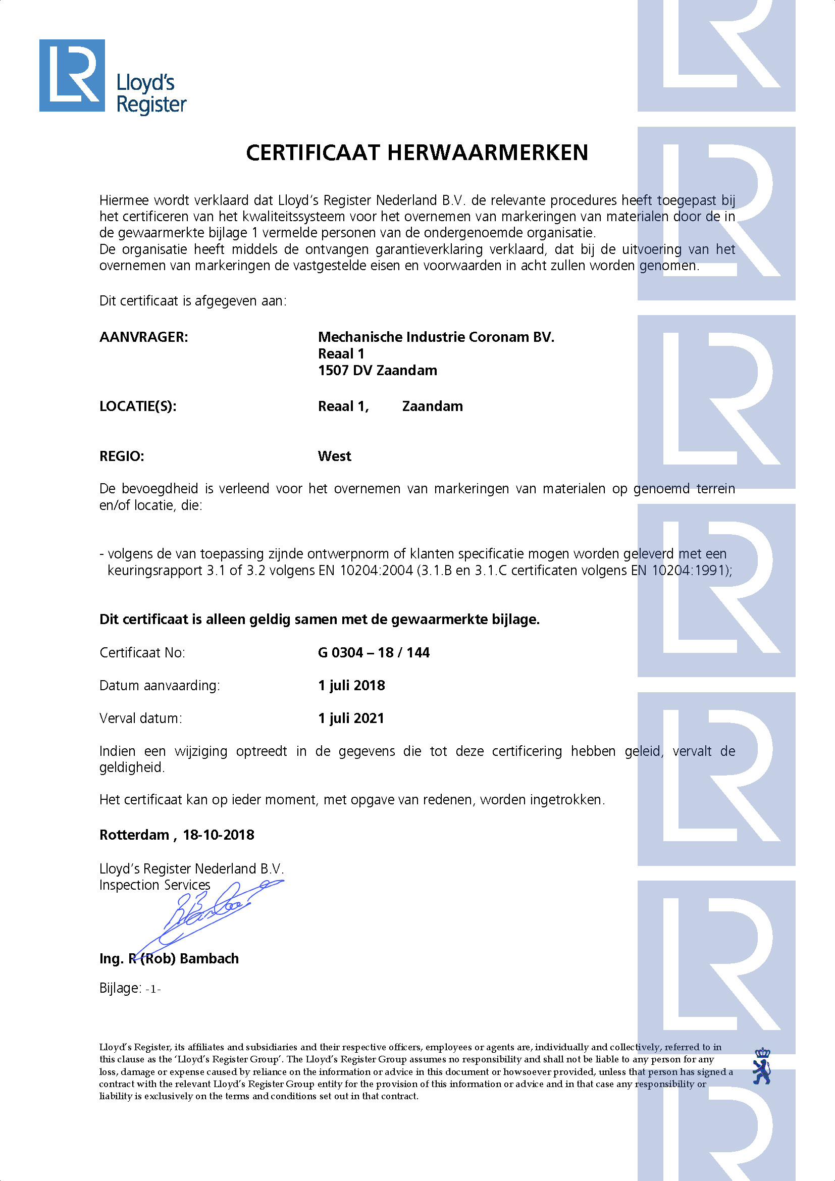 Mechanische Industrie Coronam BV Certificaat G0304 18-10-2018_Pagina_1